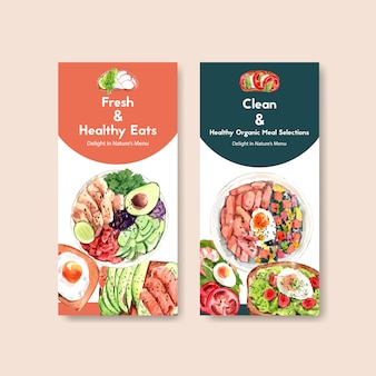 Healthy and organic food flyer template design