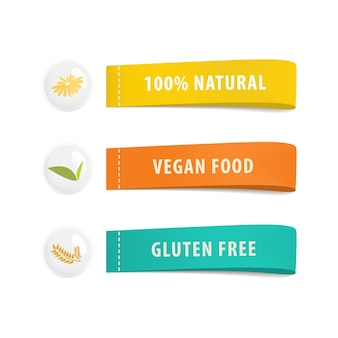건강 한 유기농 식품 라벨 및 배너 태그입니다.