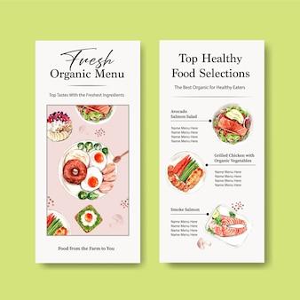 Disegno del modello di menu di alimenti sani e biologici per ristorante