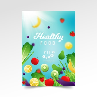 Шаблон плаката здоровых органических продуктов питания