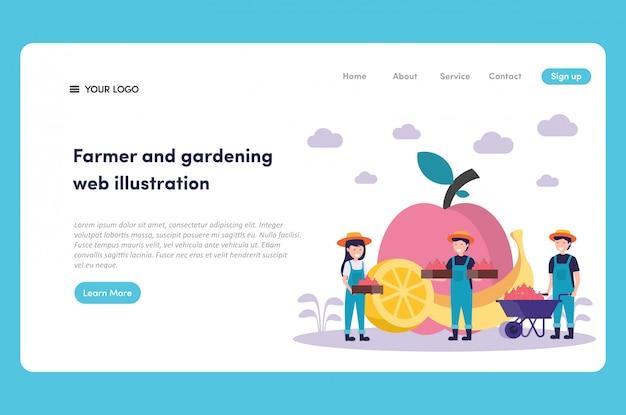 Healthy organic fresh fruit with happy farmer storing fruit using wheelbarrow web illustration and landing page premium vector