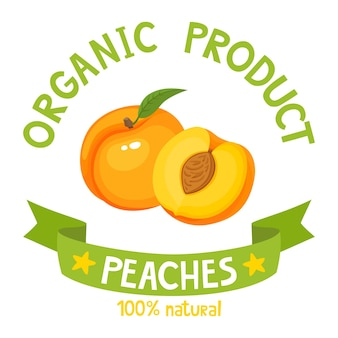 Healthy organic fruits badge of fresh farm peach with ribbon banners isolated on white background. vector illustration of cartoon label used for magazine, poster, menu, web pages.