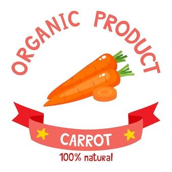 Здоровые органические овощи значок свежей фермерской моркови с лентами, изолированными на белом