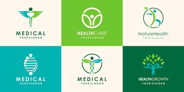 건강한 사람과 대마초 잎 로고 디자인 서식 파일