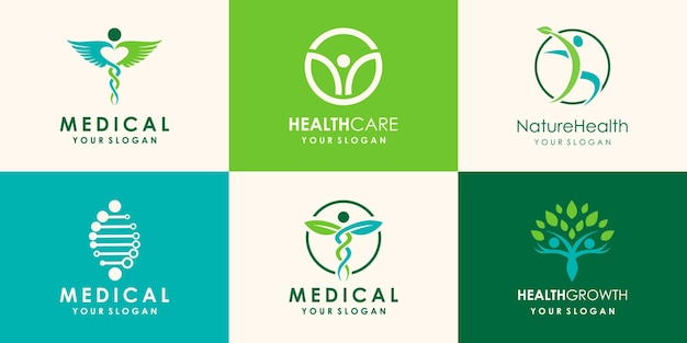 Healthy people and cannabis leaf logo design template