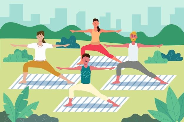 Healthy people doing yoga outdoors