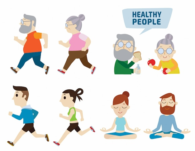 Healthy people flat cute cartoon design illustration. isolated