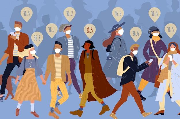 歩いていないマスク病気の女性の健康な人