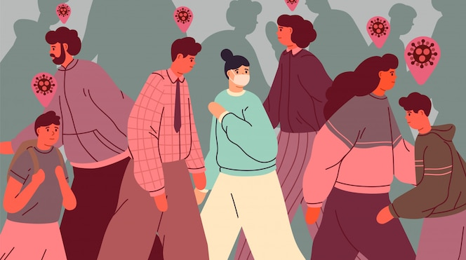 Healthy person in face mask among infected people. people during virus epidemic outbreak. coronavirus pandemic. infection contamination and prevention concept. illustration in flat style.