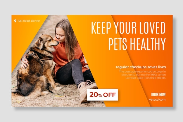 Modello di banner di clinica veterinaria animali domestici sani