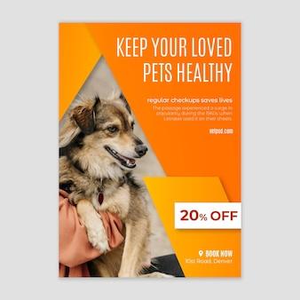 Modello di volantino per clinica veterinaria animali domestici sani