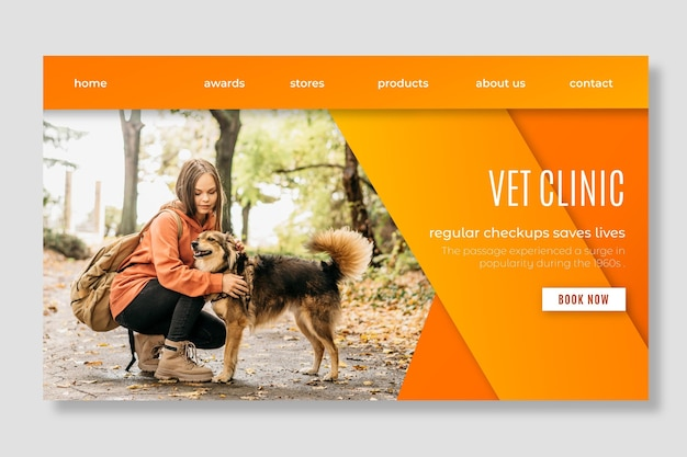 Healthy pets veterinary clinic landing page template