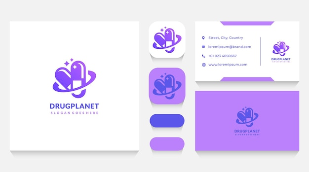 Healthy pills planet logo template and business card