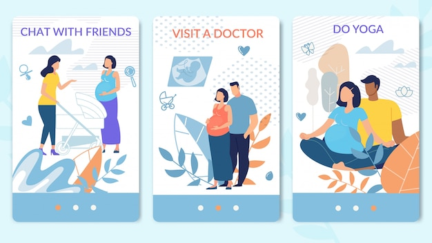 Healthy pregnancy recommendations vector web pages