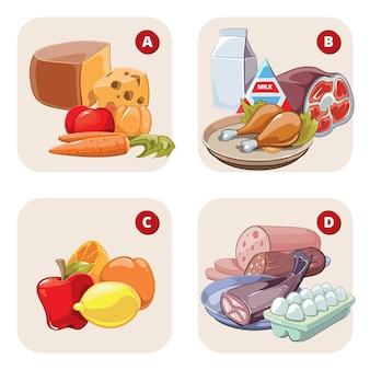 ビタミンを含む健康製品。健康食品、トマトとレモン、リンゴとハム、ビタミンdbac。
