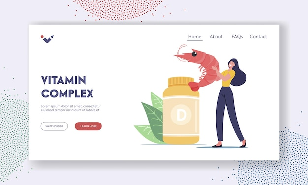Healthy products or food contain vitamin d landing page template. nutritional supplements for health. tiny female character with shrimp at huge bottle with vitamins. cartoon people vector illustration