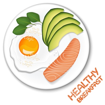Healthy reakfast on top view. fried egg, avocado slices and slice of salmon on plate