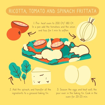 Healthy recipe frittata illustration