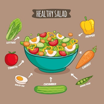 Healthy recipe healthy salad illustration
