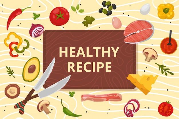 健康的なレシピのイラスト。木の板の背景に天然成分で作られたオーガニック料理。夕食に適した新鮮なトマト、ピーマン、焼き魚を使った自家製料理。