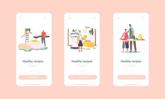 Healthy recipes mobile app page onboard screen template. characters use cooking book. mixing ingredients eggs, butter and flour for cooking meals or bakery concept. cartoon people vector illustration