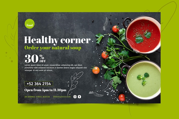 Healthy restaurant banner template