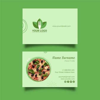 Healthy restaurant business card template