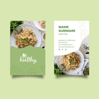 Healthy restaurant double-sided business card