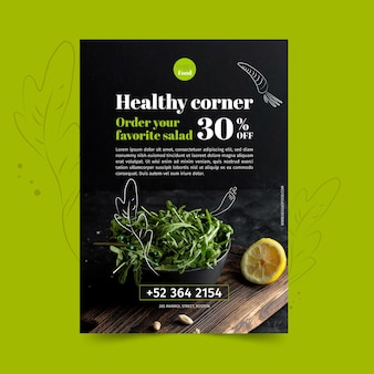 Healthy restaurant flyer template