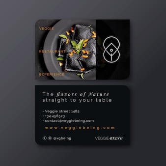Healthy restaurant horizontal business card template