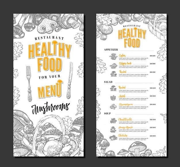 Healthy restaurant menu template