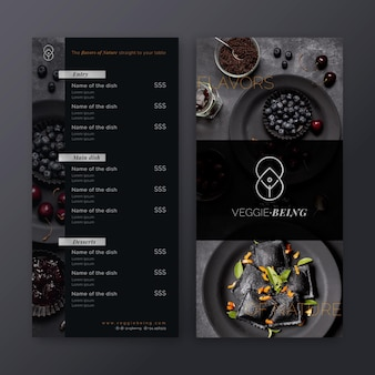 Healthy restaurant menu template