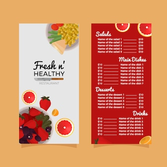 Healthy restaurant menu