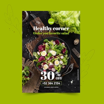 Healthy restaurant poster template