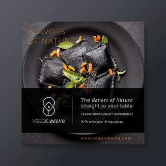 Шаблон квадратного флаера здорового ресторана