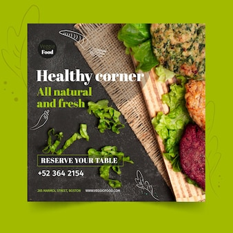 Healthy restaurant square flyer template