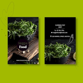 Healthy restaurant vertical business card template