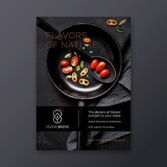 Шаблон вертикального плаката здорового ресторана