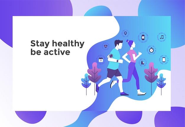 Healthy run jogging illustration page