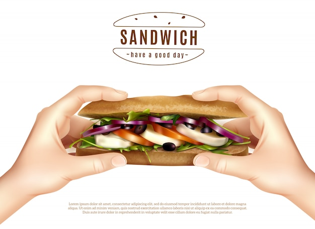Здоровый бутерброд в руках реалистичное изображение