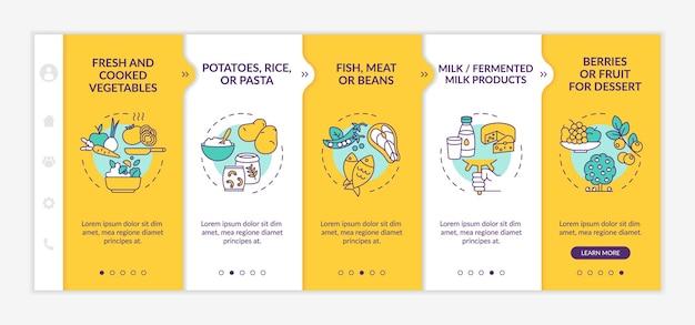 健康的な学校給食コンポーネントのオンボーディングベクトルテンプレート。アイコン付きのレスポンシブモバイルサイト。 webページのウォークスルー5ステップ画面。線形イラストと新鮮な野菜の色の概念
