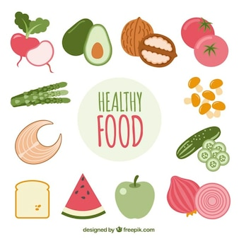 Healthy set of colorful food