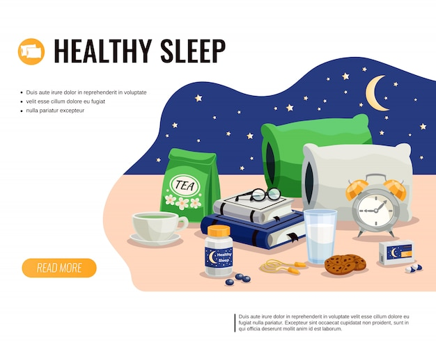Healthy sleep cartoon template with glass of milk pack of soothing tea and sleeping pills at night sky