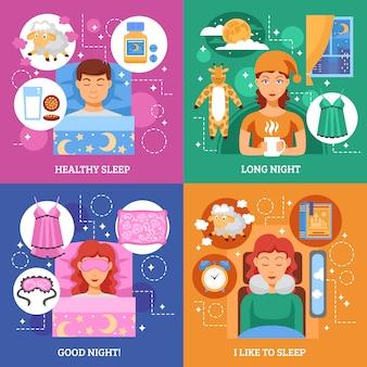 Healthy sleep concept flat elements