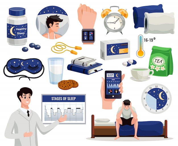 Healthy sleep decorative elements set of alarm night mask doctor showing graph of sleep stages