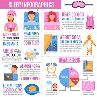 건강 한 수면 평면 infographic 포스터