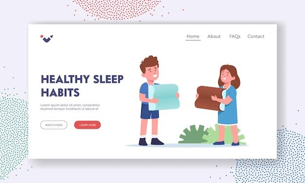 건강한 수면 습관 소개 페이지 템플릿입니다. 의료 정형 베개를 들고 행복 한 아이 들. 메모리 효과가 있는 거품 또는 라텍스 쿠션이 있는 소년 및 소녀 캐릭터. 만화 사람들 벡터 일러스트 레이 션