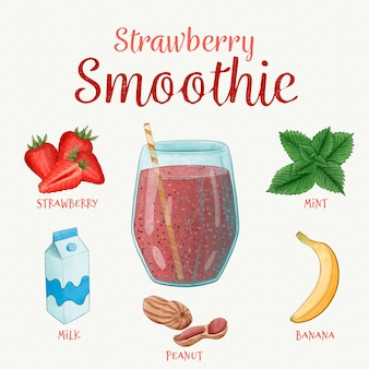 Healthy smoothie recipe concept