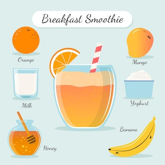 Healthy smoothie recipe illustration