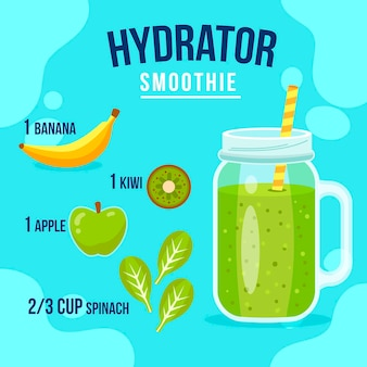 Healthy smoothie recipe with green fruits and banana